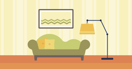 living room design: Background of living room with sofa and picture on the wall vector flat design illustration. Horizontal layout.