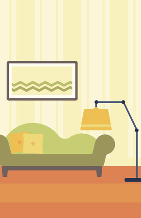 living room design: Background of living room with sofa and picture on the wall vector flat design illustration. Vertical layout.