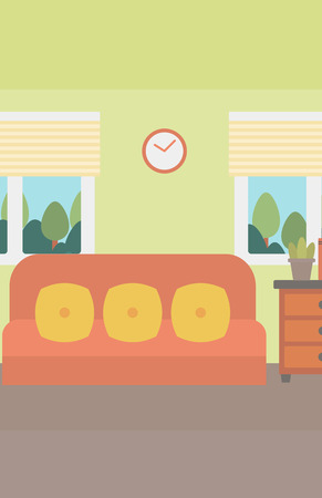 Background of living room vector flat design illustration. Vertical layout. Illustration