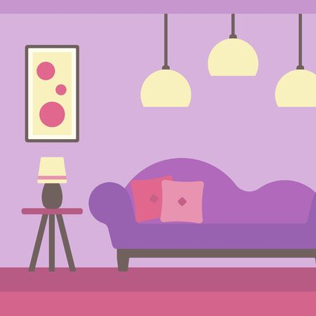 livingroom: Background of modern living room with sofa and picture on the wall vector flat design illustration. Square layout.