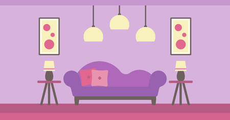 modern living room: Background of modern living room with sofa and picture on the wall vector flat design illustration. Horizontal layout. Illustration