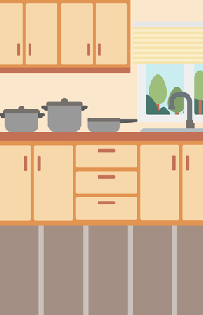 condo: Background of kitchen with kitchenware vector flat design illustration. Vertical layout.