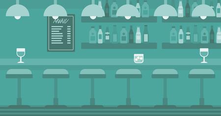 발판 및 술집 선반에 술집 카운터의 배경 벡터 평면 디자인 일러스트 레이 션. 가로 레이아웃입니다.