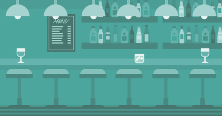 Background of bar counter with stools and alcohol drinks on shelves vector flat design illustration. Horizontal layout.
