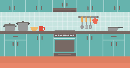 Background of kitchen vector flat design illustration. Horizontal layout.