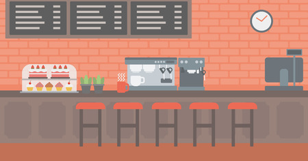 Antecedentes de panadería con pasteles y cafetera ilustración vectorial diseño plano. disposición horizontal.