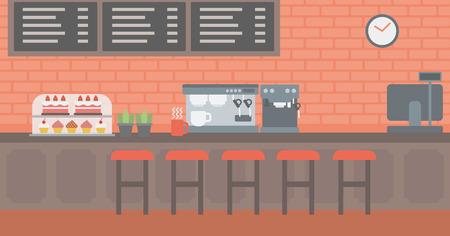 Achtergrond van de bakkerij met gebak en een koffiezetapparaat vector platte ontwerp illustratie. Horizontale lay-out.