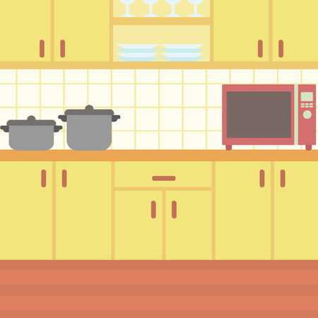 Background of kitchen with kitchenware vector flat design illustration. Square layout.