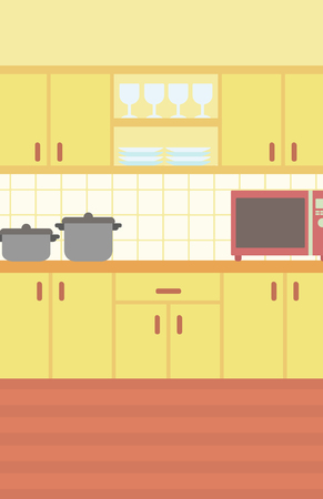 Background of kitchen with kitchenware vector flat design illustration. Vertical layout.