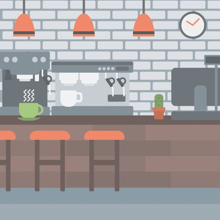 Background of coffee house vector flat design illustration. Square layout. Illustration