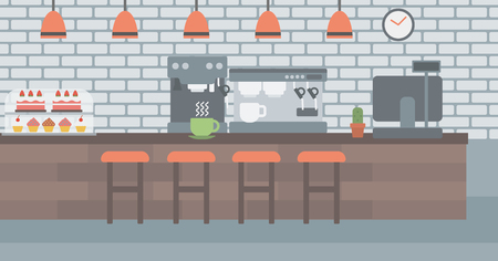 Background of coffee house vector flat design illustration. Horizontal layout. Illustration
