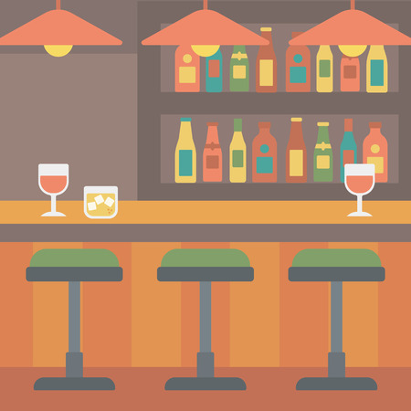 stools: Background of bar counter with stools and alcohol drinks on shelves vector flat design illustration. Square layout.