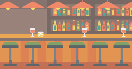 stools: Background of bar counter with stools and alcohol drinks on shelves vector flat design illustration. Horizontal layout.