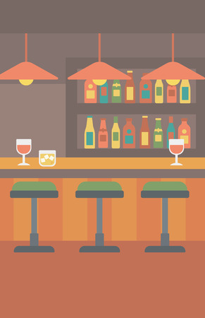vertical bar: Background of bar counter with stools and alcohol drinks on shelves vector flat design illustration. Vertical layout. Illustration