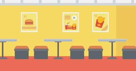 unoccupied: Background of fast food restaurant vector flat design illustration. Horizontal layout.