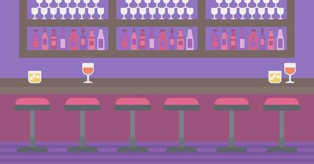 Contexte de bar comptoir avec tabourets et les boissons alcoolisées sur les tablettes de vecteur pour la conception plate illustration. disposition horizontale. Banque d'images - 55898662