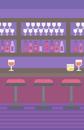 stools: Background of bar counter with stools and alcohol drinks on shelves vector flat design illustration. Vertical layout. Illustration