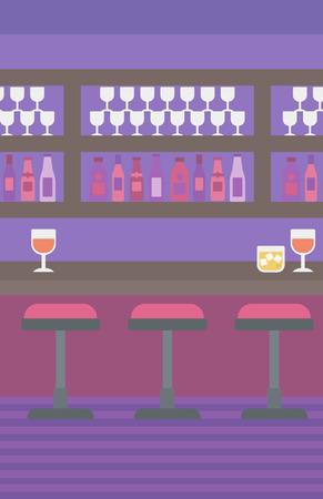 Contexte de bar comptoir avec tabourets et les boissons alcoolisées sur les tablettes de vecteur pour la conception plate illustration. Présentation verticale. Banque d'images - 55898667