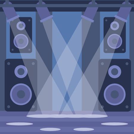night club interior: Background of night club vector flat design illustration. Square layout.