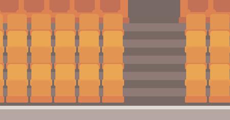 theater seats: Empty theater seats vector flat design illustration. Horizontal layout.