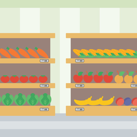 produce departments: Background of vegetables and fruits on shelves in supermarket vector flat design illustration. Square layout.