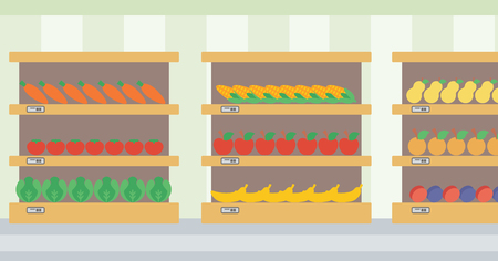 produce departments: Background of vegetables and fruits on shelves in supermarket vector flat design illustration. Horizontal layout.