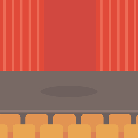 theatrical performance: Theater stage with curtains, seats and spotlight vector flat design illustration. Square layout.