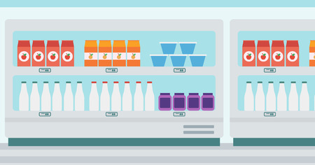 edibles: Supermarket shelves with dairy products vector flat design illustration. Horizontal layout.