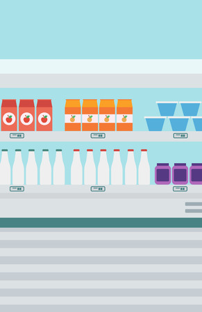 edibles: Supermarket shelves with dairy products vector flat design illustration. Vertical layout.