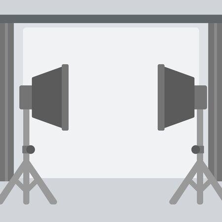 lighting equipment: Background of empty photo studio with lighting equipment vector flat design illustration. Square layout. Illustration