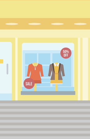 Background of women boutique window with dressed mannequins vector flat design illustration. Vertical layout.