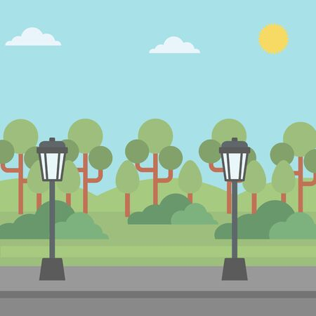 streetlight: Background of park with a streetlight and an asphalt path  vector flat design illustration. Square layout. Illustration