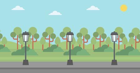 streetlight: Background of park with a streetlight and an asphalt path  vector flat design illustration. Horizontal layout.