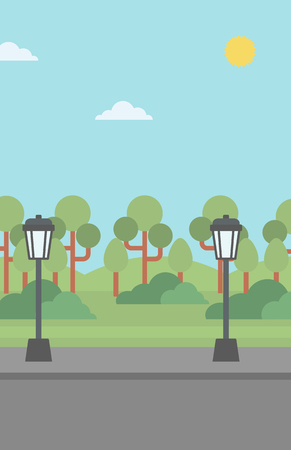 streetlight: Background of park with a streetlight and an asphalt path  vector flat design illustration. Vertical layout.