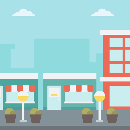 Background of city street with cafe facade vector flat design illustration. Square layout. Illustration