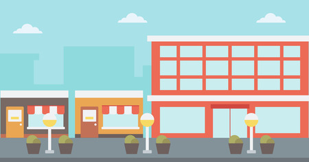 Background of city street with cafe facade vector flat design illustration. Horizontal layout.