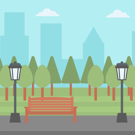 streetlight: Background of park with a streetlight and a bench vector flat design illustration. Square layout.