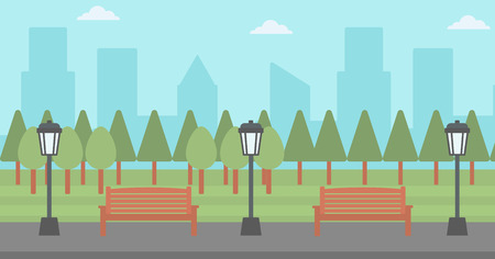 streetlight: Background of park with a streetlight and a bench vector flat design illustration. Horizontal layout. Illustration