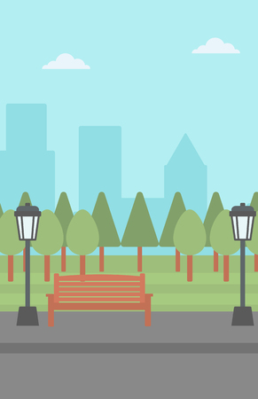 Background of park with a streetlight and a bench vector flat design illustration. Vertical layout. Illustration