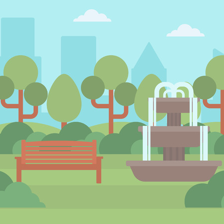 garden fountain: Background of city park with fountain and a bench vector flat design illustration. Square layout.