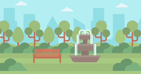 Background of city park with fountain and a bench vector flat design illustration. Horizontal layout.