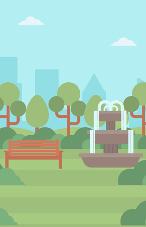 Background of city park with fountain and a bench vector flat design illustration. Vertical layout.