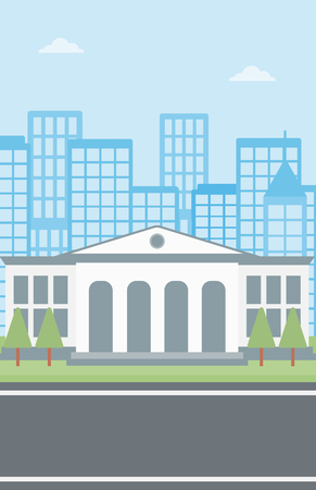 Background of educational building vector flat design illustration. Vertical layout.
