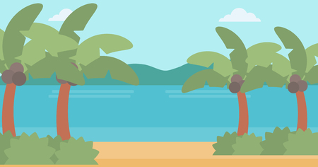 Background of tropical beach with palm trees and the sea vector flat design illustration. Horizontal layout. Illustration