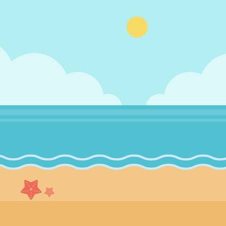 Background of sand beach with blue sea vector flat design illustration. Square layout.