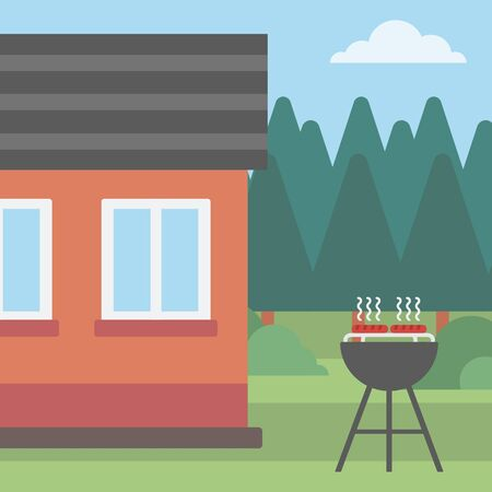 backyard: Background of the backyard of the house with barbecue vector flat design illustration. Square layout.