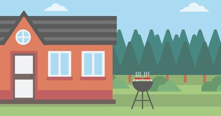 backyard: Background of the backyard of the house with barbecue vector flat design illustration. Horizontal layout.