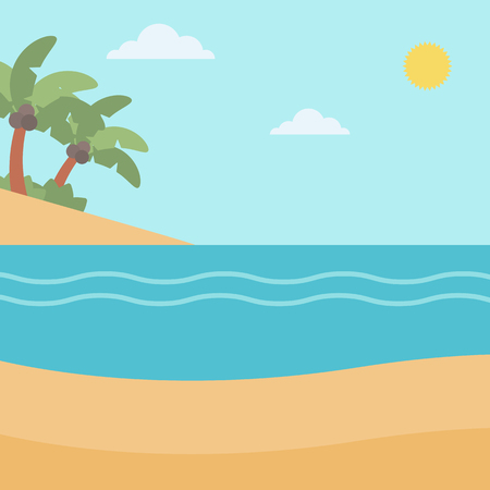 Background of tropical beach with palm trees and the sea vector flat design illustration. Square layout.