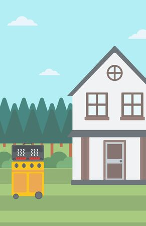 backyard: Background of the backyard of the house with barbecue vector flat design illustration. Vertical layout.