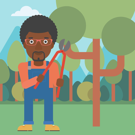 pruner: An african-american man holding a pruner on a background of garden with trees vector flat design illustration. Square layout. Illustration